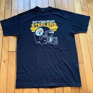 [vintage] • men's black thin steelers t-shirt